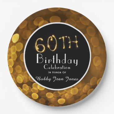 partridgelanestudio 60th Birthday Party Gold Sparkle Paper Plate