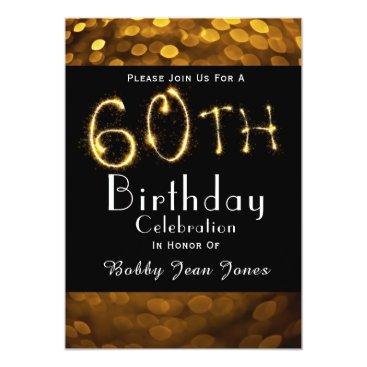partridgelanestudio 60th Birthday Party Gold Sparkler Card