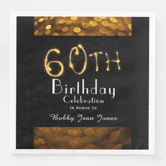 60th Birthday Party Gold Sparkler Paper Dinner Napkin