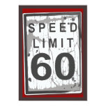60th Birthday Party Grungy Speed Limit Sign 5x7 Paper Invitation Card