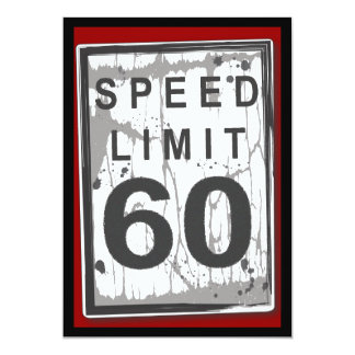 60th Birthday Party Grungy Speed Limit Sign Card