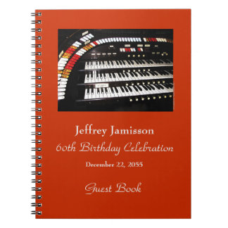 60th Birthday Party Guest Book, Antique Organ Spiral Notebook