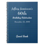 60th Birthday Party Guest Book Blue Plaid Spiral Note Book