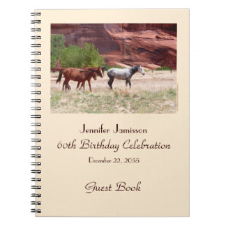 60th Birthday Party Guest Book, Horses in Canyon Spiral Note Books