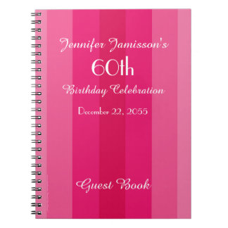 60th Birthday Party Guest Book Pink Stripe Spiral Notebook