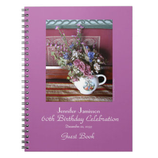 60th Birthday Party Guest Book, Vintage Teapot Spiral Notebook