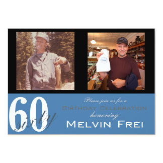 "60th Birthday Party Invitation 4.5"" X 6.25"" Invitation Card"