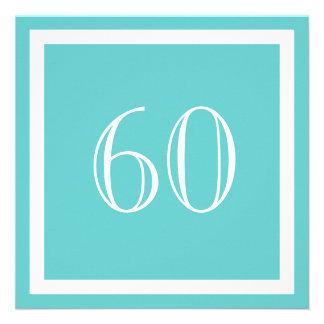 60th Birthday Party Invitation - Aqua