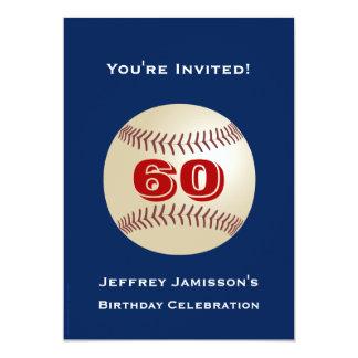 """60th Birthday Party Invitation Baseball 5"""" X 7"""" Invitation Card"""