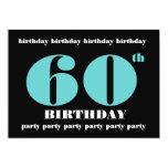 60th Birthday Party Invitation Blue Black W1099