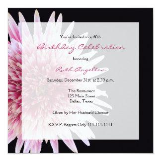 "60th Birthday Party Invitation -- Gerbera Daisy 5.25"" Square Invitation Card"
