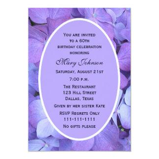 60th Birthday Party Invitation -- Hydrangea Custom Invitation