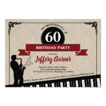 60th birthday party invitation Jazz music theme