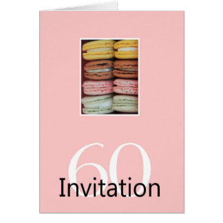 60th Birthday party invitation macaron