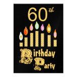 "60th Birthday Party Invitation - Metallic GOLD 5"" X 7"" Invitation Card"