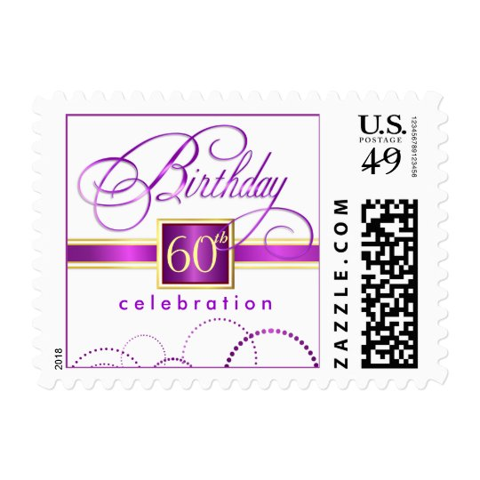 60th Birthday Party Invitation Personalized Stamps