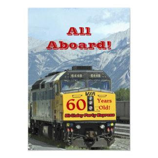 """60th Birthday Party Invitation Railroad Train 5"""" X 7"""" Invitation Card"""