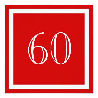 """60th Birthday Party Invitation - Red 5.25"""" Square Invitation Card"""