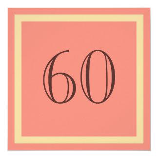 """60th Birthday Party Invitation - Salmon Coral 5.25"""" Square Invitation Card"""