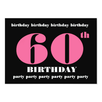 60th Birthday Party Invitation Template Pink Black