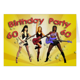 60th birthday party invitation with a girl band