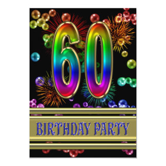 60th Birthday party Invitation with bubbles