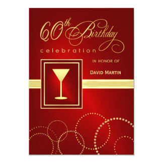 60th Birthday Party Invitations - Festive Red