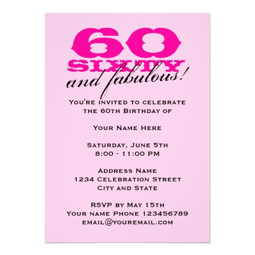 60th Birthday Party invitations for women