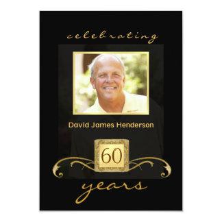 "60th Birthday Party Invitations - Formal for Men 5"" X 7"" Invitation Card"