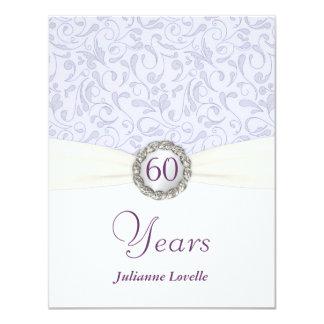 "60th Birthday Party Invitations Lavender Damask 4.25"" X 5.5"" Invitation Card"