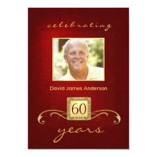 "60th Birthday Party Invitations- Red Gold Monogram 5"" X 7"" Invitation Card"