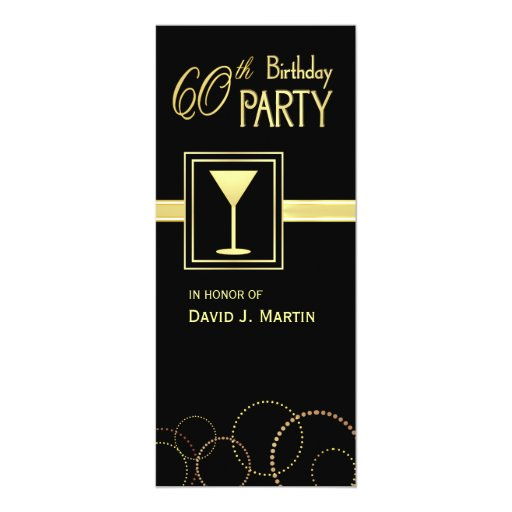 """60th Birthday Party Invitations - Surprise Party 4"""" X 9.25"""" Invitation Card"""