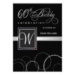 60th Birthday Party Invitations - with Monogram Invitation