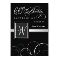 60th Birthday Party Invitations - with Monogram