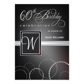 60th Birthday Party Invitations - with Monogram Personalized Invitations