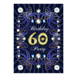 60th birthday party invite with masses of jewels