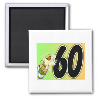 60th birthday party merchandise 2 inch square magnet