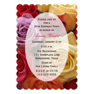 60th Birthday Party Multi Color Roses 5x7 Paper Invitation Card