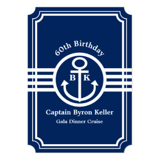 60th Birthday Party on a Boat Nautical Custom Card
