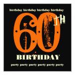 "60th Birthday Party Orange Grunge Invitation 5.25"" Square Invitation Card"