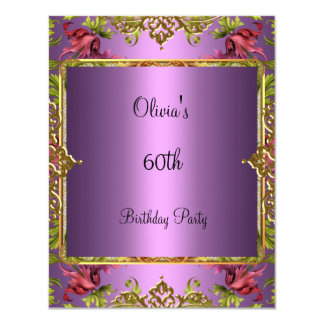 60th Birthday Party Ornate Vintage Lilac Floral Card
