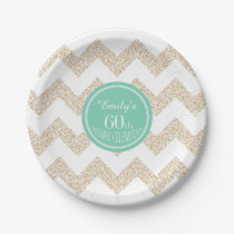 60th Birthday Party Paper Plates - Choose Color
