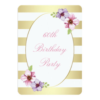 60th Birthday Party | Pink Lilac Floral White Gold Card