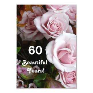 60th Birthday Party- Pink Rose Bouquet Card