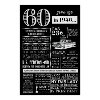 """60th Birthday Party Poster  """"1956"""" - 24"""" x 36"""""""