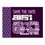 60th Birthday Party Purple Geometric Pattern Postcards
