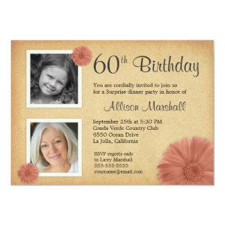 60th Birthday Party Rustic Daisy 2 Photo Invites