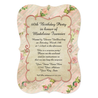 60th Birthday Party Scroll Frame w Vintage Roses Card