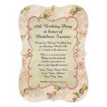 "60th Birthday Party Scroll Frame w Vintage Roses 5"" X 7"" Invitation Card"