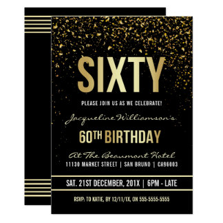 60th Birthday Party | Shimmering Gold Confetti Card